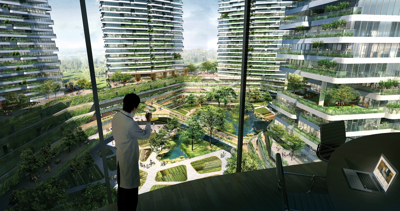 A rendering of the view from HSC's medical centre over the vertical farms and gardens
