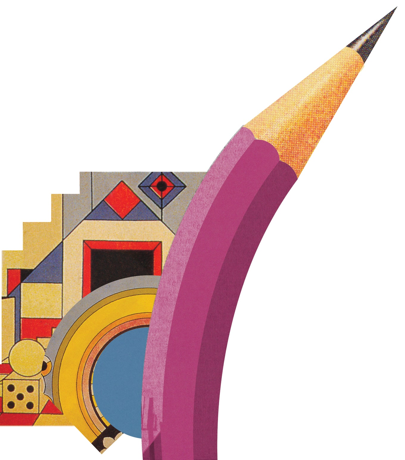 illustration of a purple curved pencil