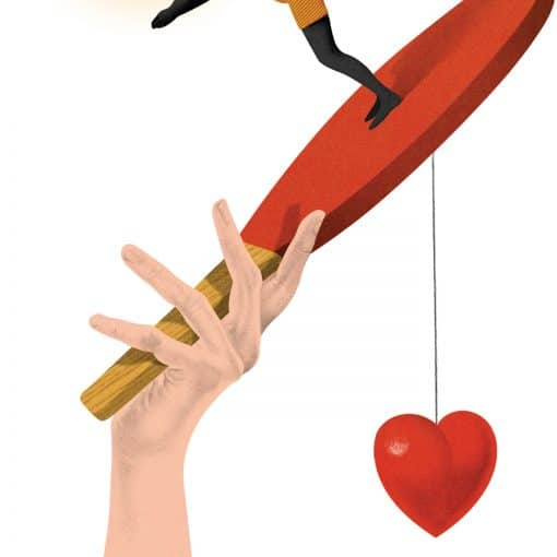 Hand holding a racket with a heart attached and a lady diving