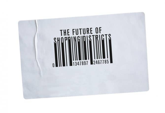 Illustration of barcode with Future of Shopping District text