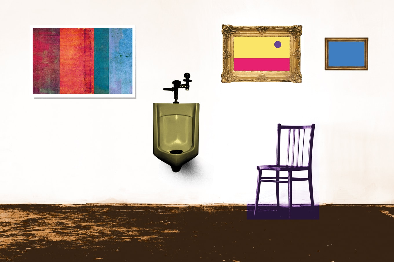 Gallery with paintings, a chair and an urinal
