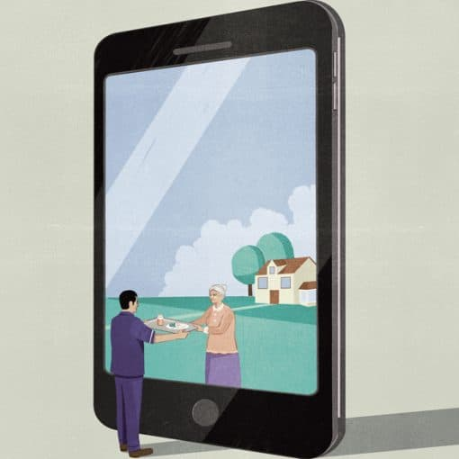 Illustration of a man handing food to an elderly woman in a smartphone