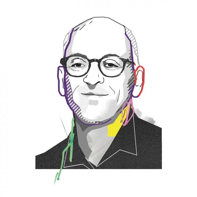 Illustration of a man with glasses Jonathan Ledgard