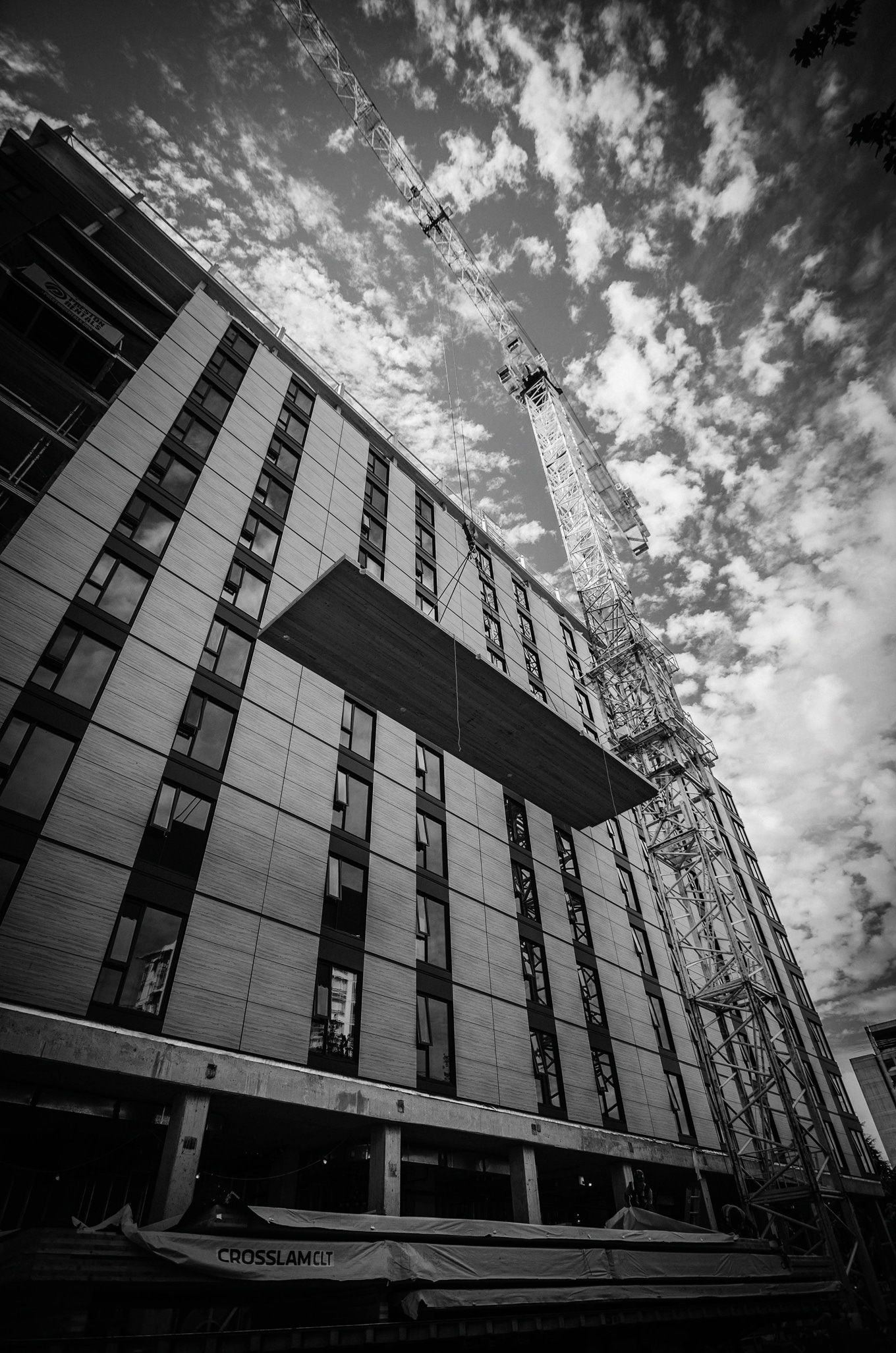 Tallwood House Vancouver- Black and White Facade with Cranes