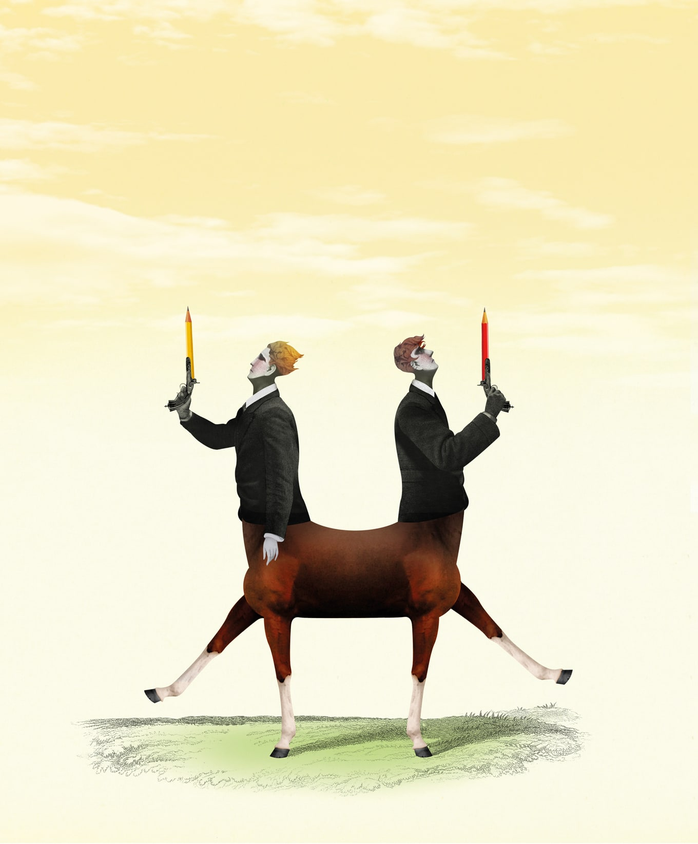 Two men with gun pencil- Horse