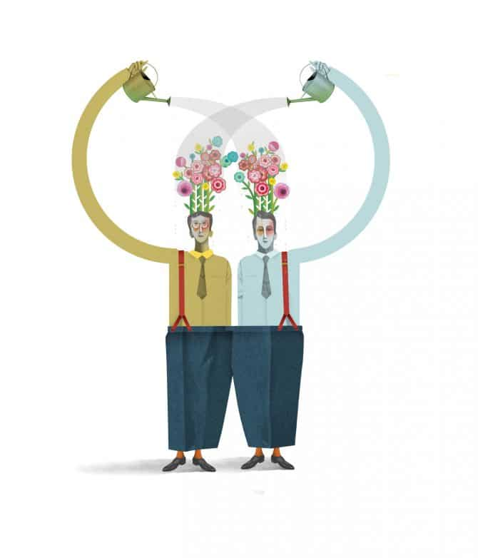 Illustration of two men watering their flower heads