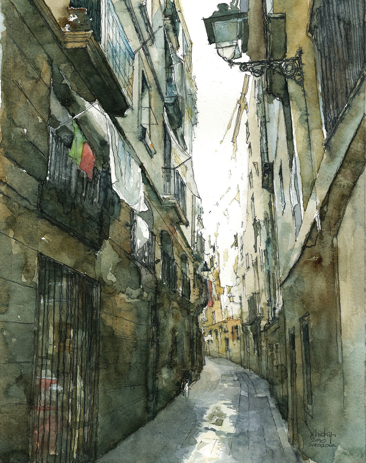 Observational painting of a Barcelona street by Chris Loyn; pencil, pen and watercolour on watercolour paper