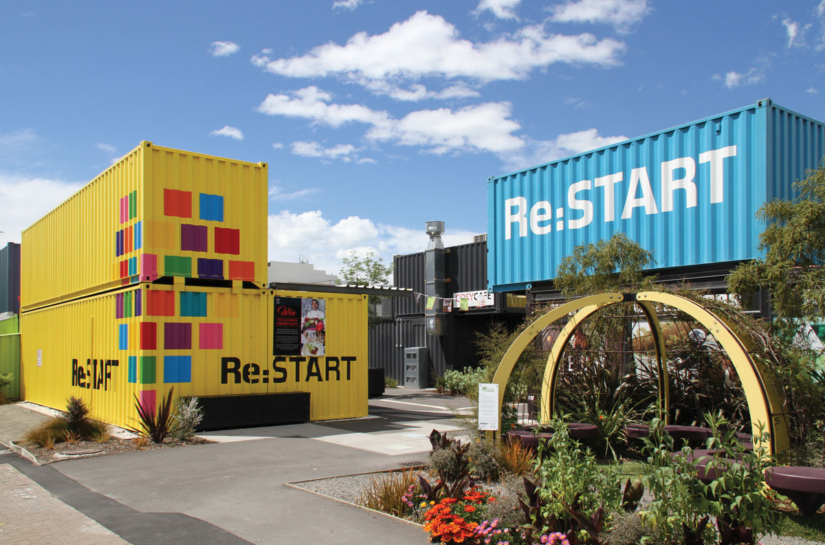 Re:START container mall in Christchurch, New Zealand. After the 2011 earthquake, pop-up facilities were set up in open spaces across thecity as part of the recovery