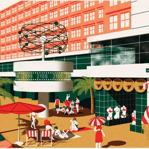 Illustration of a beach in Alexanderplatz