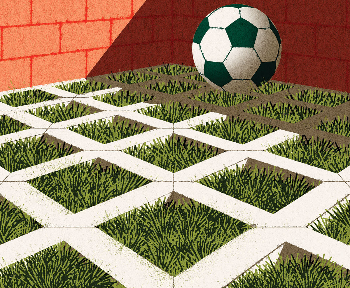 illustration of a football on grass