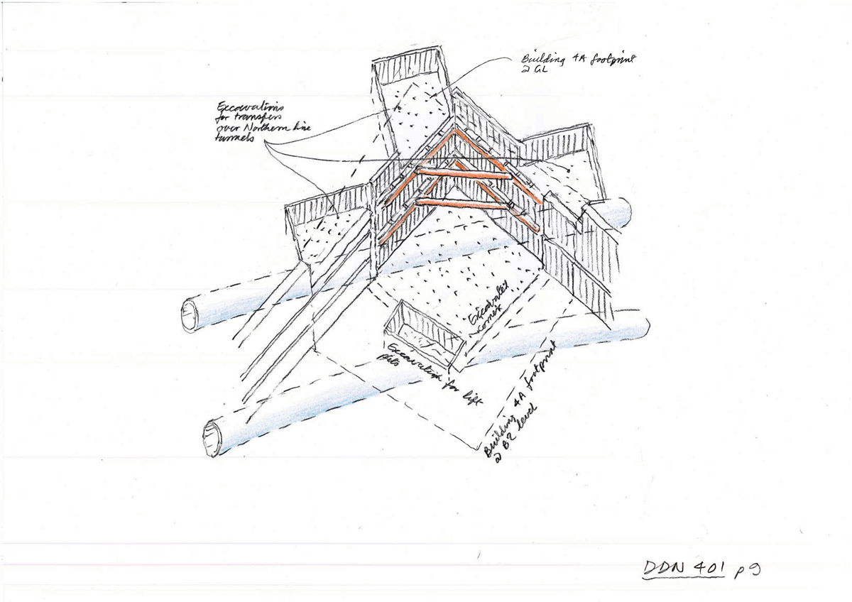 Foundation construction, part of a sequence, by Ron Slade; pencil on paper