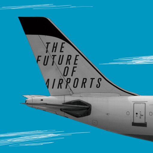 illustration of the back of an aircraft with Future of Airports written on it