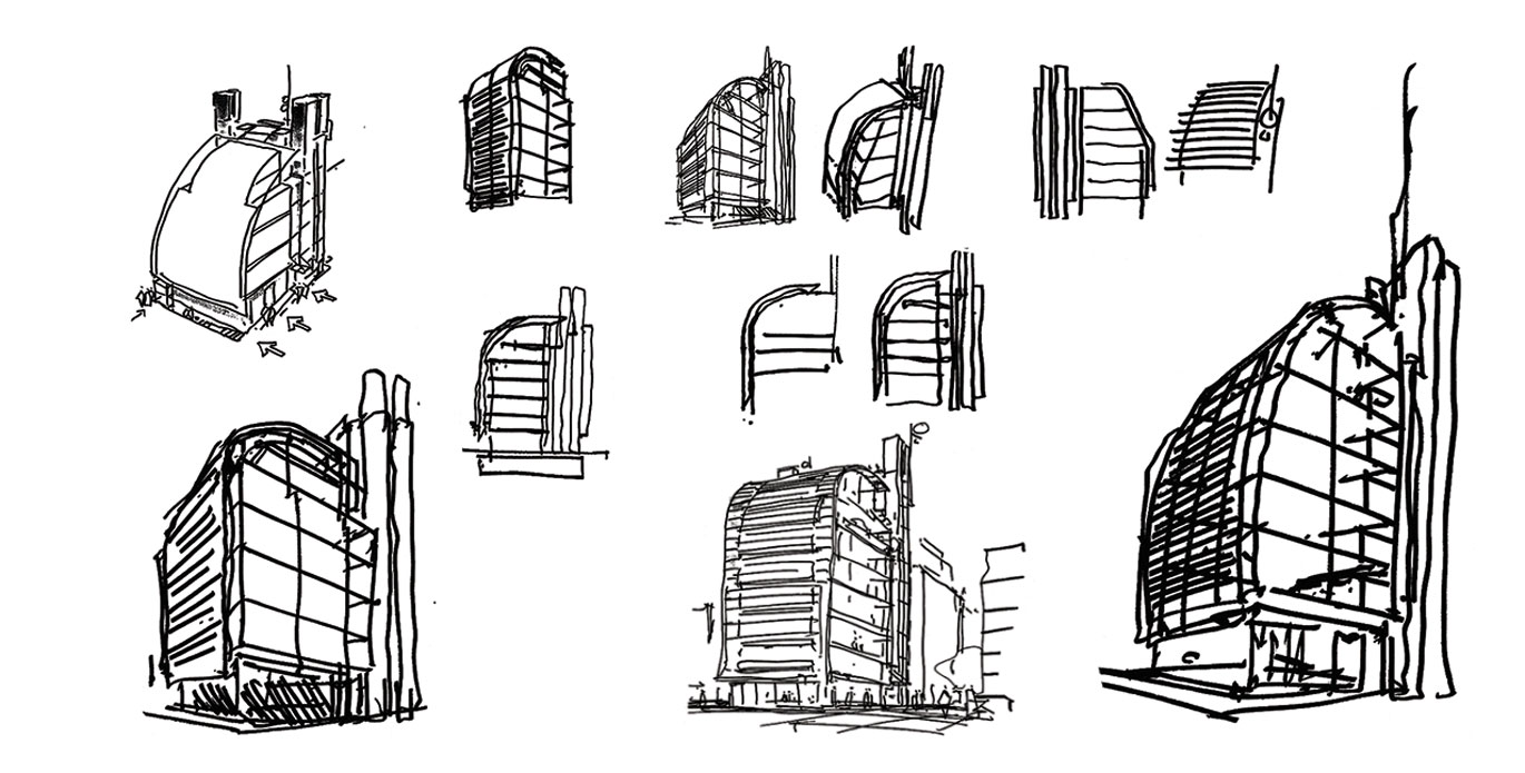 drawing of a building at different stages