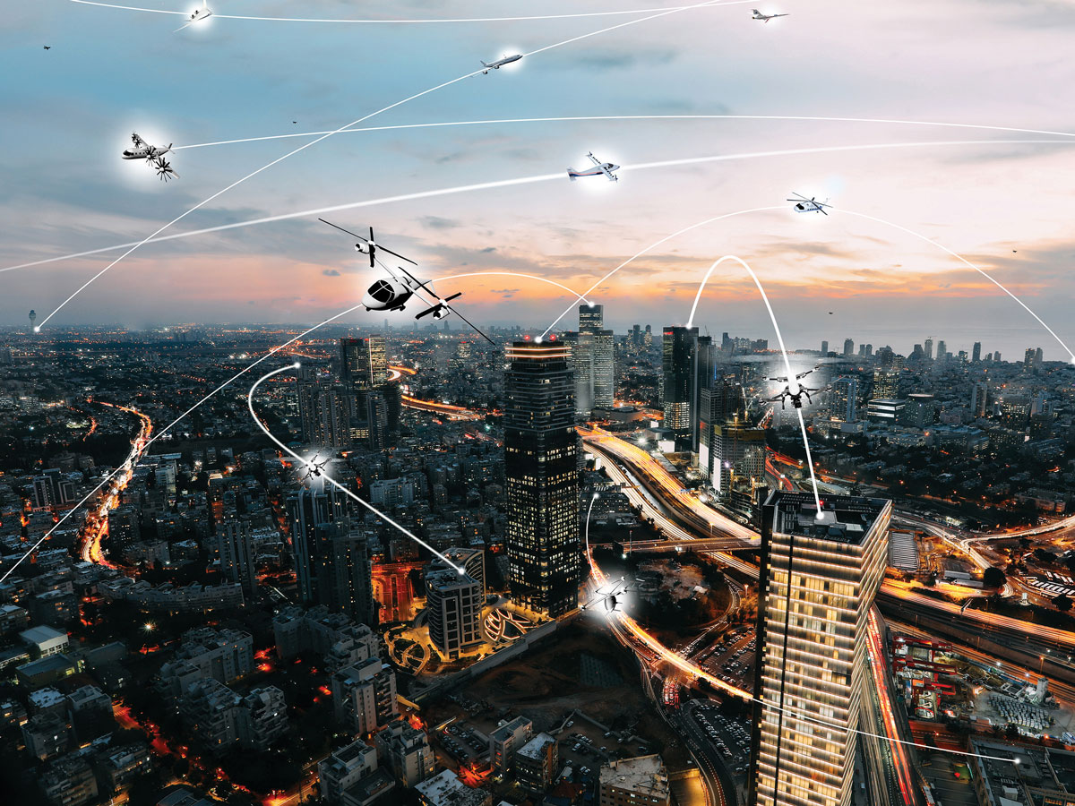 rendering of aircraft flight path around the city