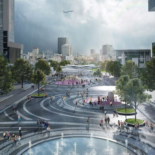 Rendering of Da Nang City Center Square in Vietnam with permeable paving