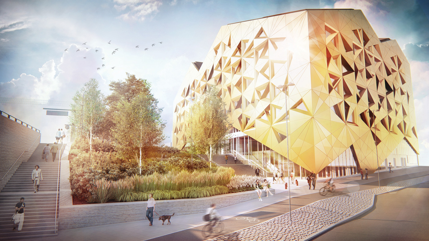 Render of the Juvelen by Utopia Architects - One of the most sustainable buildings in Sweden