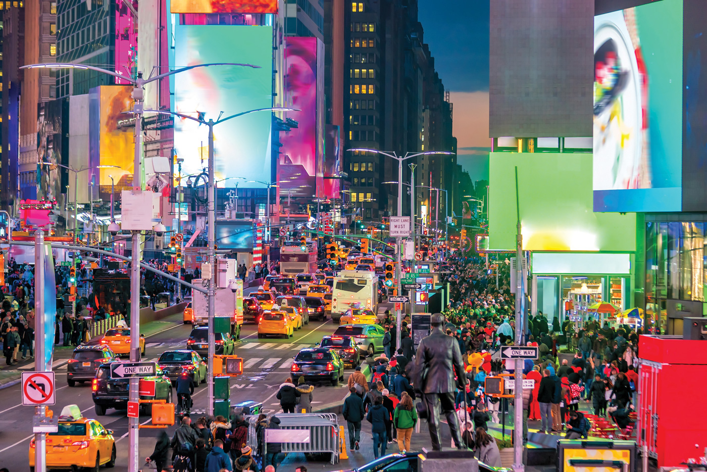 Picture of New York with illuminated billboards