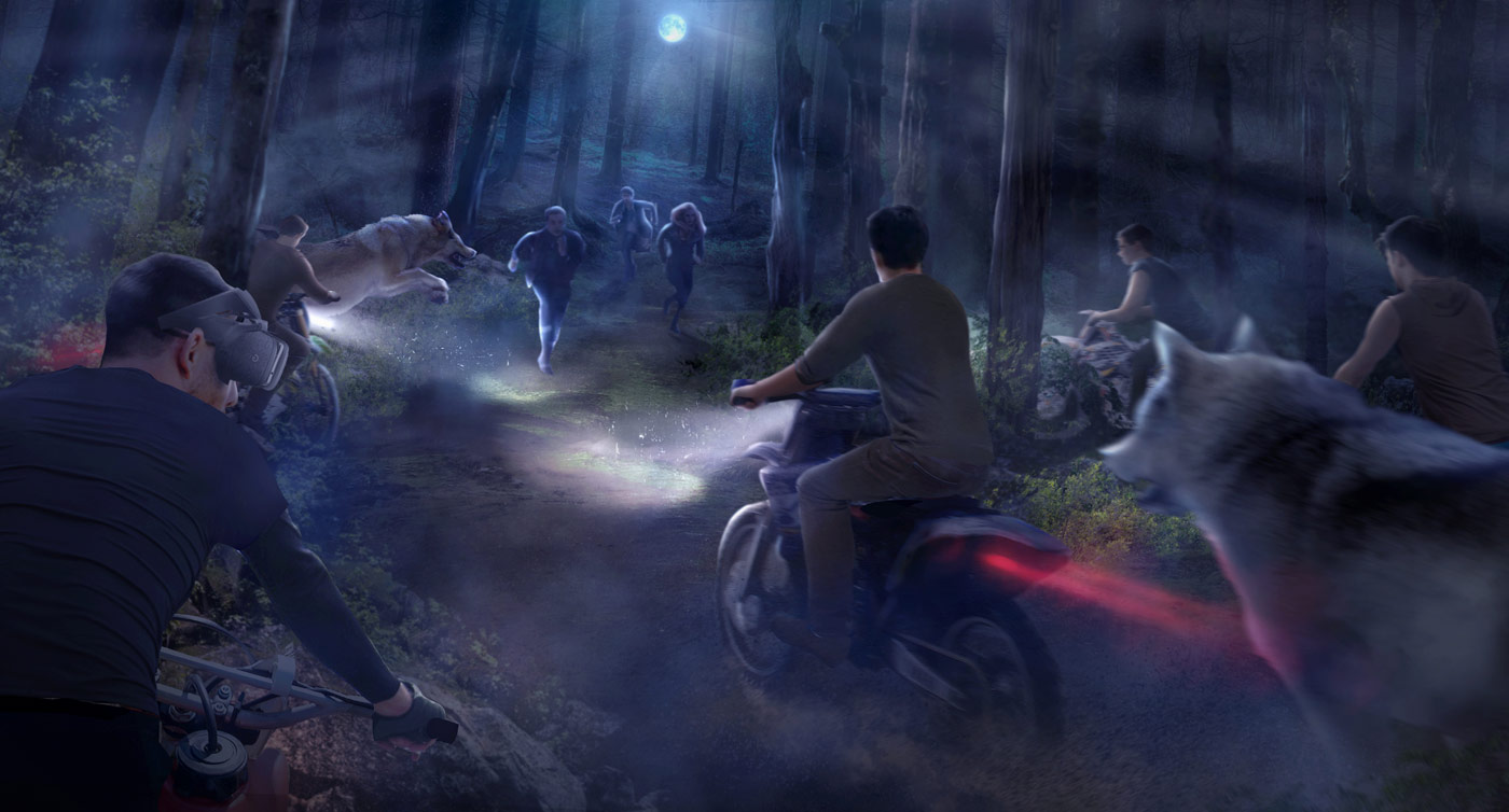 Midnight Ride, a dirt-bike adventure complete with VR wolves at Thinkwell's Lionsgate Entertainment World in Hengqin, China
