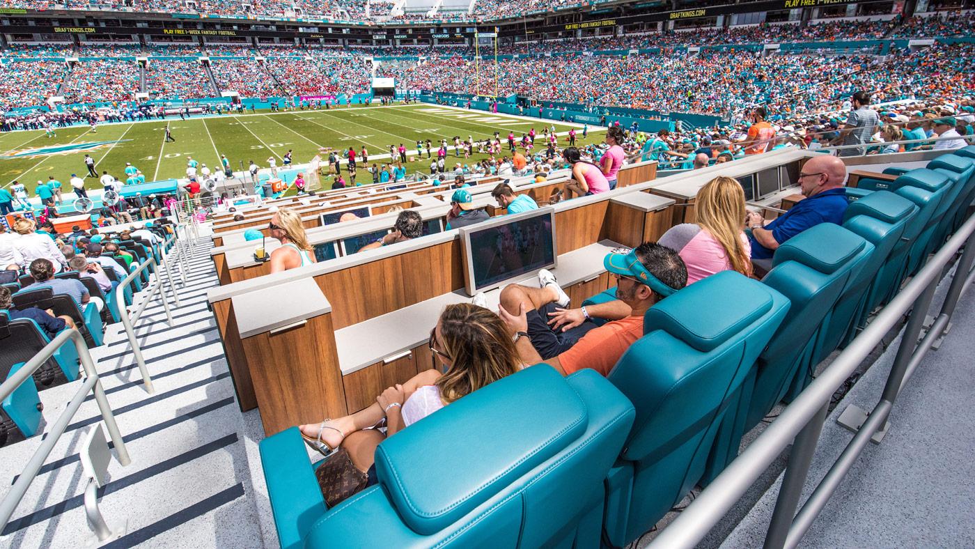 VIP seat at the Miami Dolphin's stadium