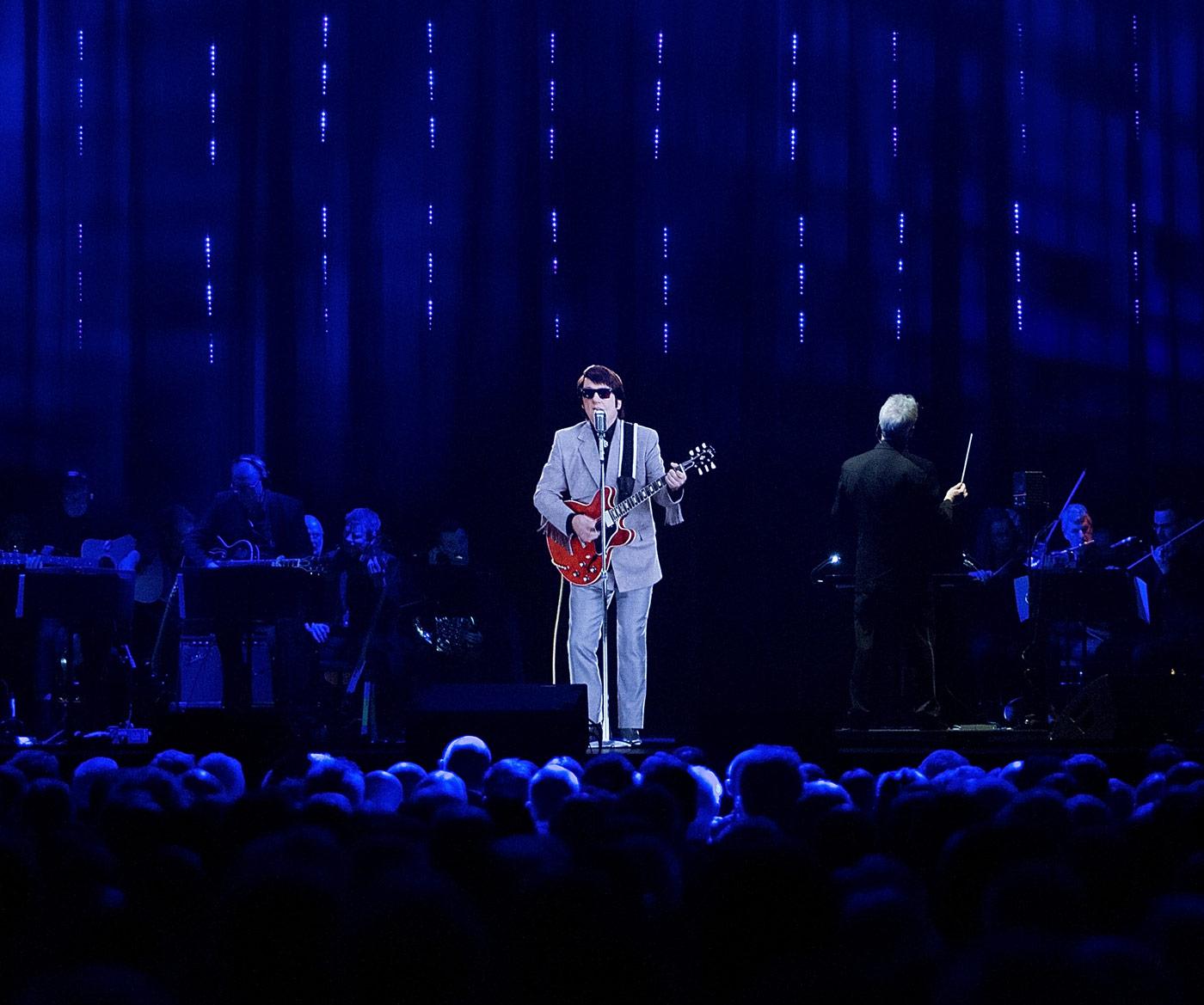 hologram of a singer on stage