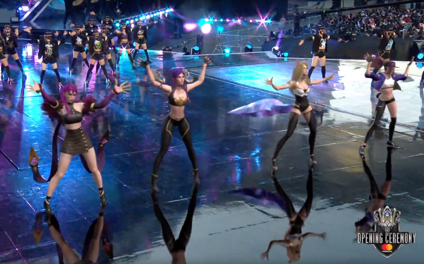 real and holographic dancers perform together at the League of Legends championship in Incheon, South Korea