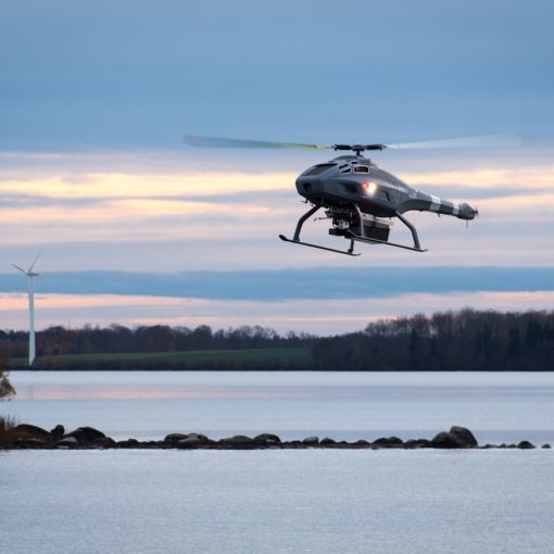 "picture of V-200 ""sniffer"" drone flying above the water"