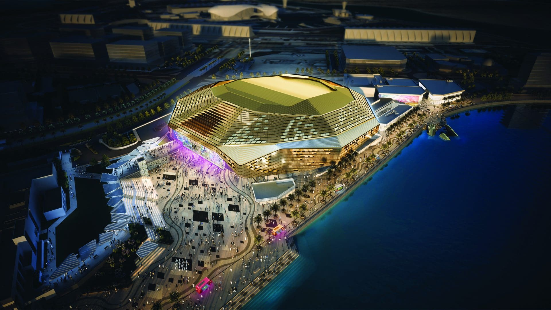 aerial view of the Yas Bay Arena
