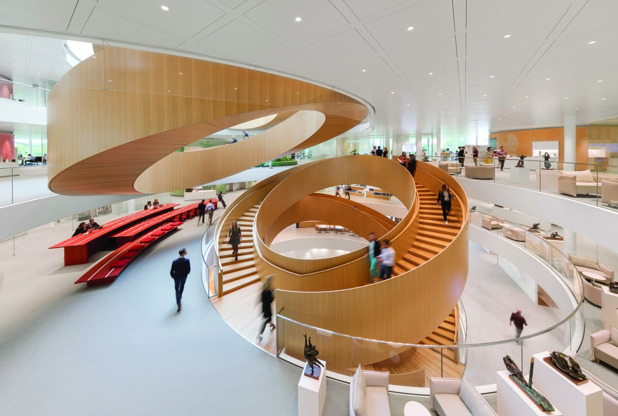 The Unity Staircase at 3XN's IOC headquarters in Lausanne