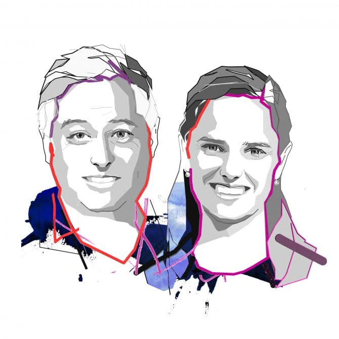 Illustrations of Graham Pointer, WSP, and Ashleigh Cormack, Uber, by Paddy Mills
